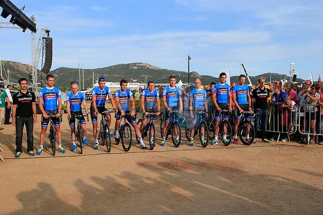 Garmin Sharp Team at the Team Presentation ceremony held in Porto Vecchio, Corsica, France.<br /> 27th June 2013. <br /> (Photo:Ann Clarke/www.newsfile.ie)