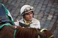 Jockey Fernando Jara in the winners circle at Gulfstream Park, Hallandale Beach Florida. 03-04-2012