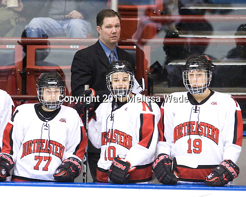 Lori Antflick (NU - 77), Dave Flint (NU - Head Coach), Autumn Prouty (NU - 10), Nicole Fox (NU - 19) - The visiting University of Connecticut Huskies defeated the Northeastern University Huskies 4-2 (EN) in NU's senior game on Saturday, February 19, 2011, at Matthews Arena in Boston, Massachusetts.