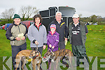 FORM: Looking over thew form of the dog at the Kilflynn Coursing Club Coursing on Saturday, l-r: John Joe Tagnesy(Listry), Jane Dowling (Tralee), Nicole Horgan (Abbeydorney) Willie O'Shea (Listry) and Brendan Horgan (Abbeydorney).............