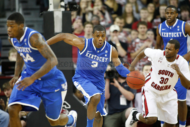 UK forward Terrence Jones moves the ball upcourt against South Carolina at Colonial Life Arena on Saturday, Jan. 22, 2011. Photo by Scott Hannigan | Staff
