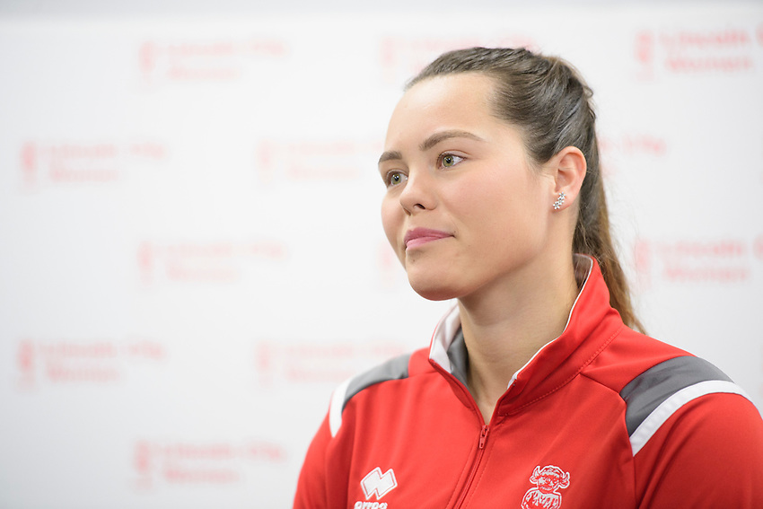 Lincoln City Women's captain Chloe Brock-Taylor speaking at a press conference<br /> <br /> Photographer Chris Vaughan/CameraSport<br /> <br /> Lincoln City Women - Press conference - Tuesday 18th June 2019 - Sincil Bank - Lincoln<br /> <br /> World Copyright © 2019 CameraSport. All rights reserved. 43 Linden Ave. Countesthorpe. Leicester. England. LE8 5PG - Tel: +44 (0) 116 277 4147 - admin@camerasport.com - www.camerasport.com
