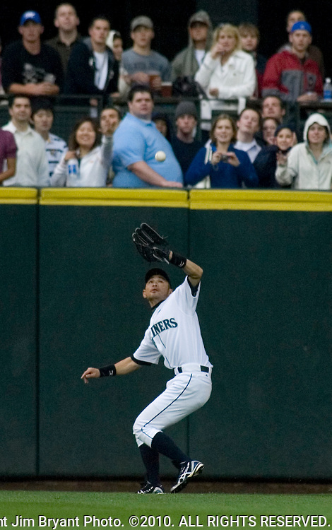 Seattle Mariners' center fielder Ichiro Suzuki, of Japan, gets underneath Baltimore Orioles'  Nick Markakis pop fly in the first inning of their baseball game Wednesday, July 18, 2007 in Seattle. .Jim Bryant Photo. ©2010. ALL RIGHTS RESERVED.
