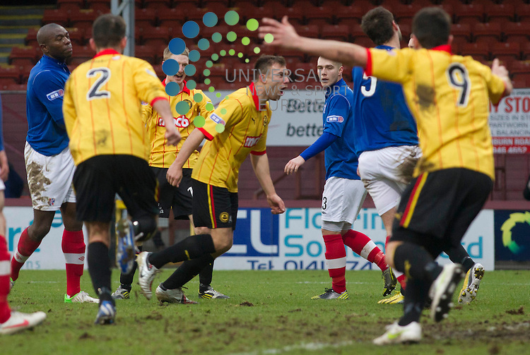 Conrad Balatoni score the second for thistle (5) during the Irn Bru Division One Partick Thistle v Cowdenbeath at Firhill Stadium..Universal News And Sport (Scotland). 26 January 2013 www.unpixs.com.