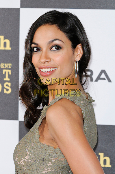 ROSARIO DAWSON.The 25th Annual Film Independent Spirit Awards at the LA Live Event Deck in Los Angeles, California, USA..March 5th, 2010  .green portrait headshot silver earrings smiling hoop lace sleeveless looking over shoulder .CAP/ROT.©Lee Roth/Capital Pictures