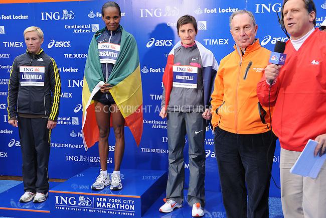 WWW.ACEPIXS.COM . . . . . ....November 1 2009, New York City....Derartu Tulu (2nd L) of Ethiopia following the ING New York City Marathon on November 1, 2009 in New York City.....Please byline: KRISTIN CALLAHAN - ACEPIXS.COM.. . . . . . ..Ace Pictures, Inc:  ..(212) 243-8787 or (646) 679 0430..e-mail: picturedesk@acepixs.com..web: http://www.acepixs.com