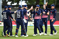 England team celebrate the wicket of Blackcaps player Martin Guptill during the 4th ODI Blackcaps v England. University Oval, Dunedin, New Zealand. Wednesday 7 March 2018. ©Copyright Photo: Chris Symes / www.photosport.nz