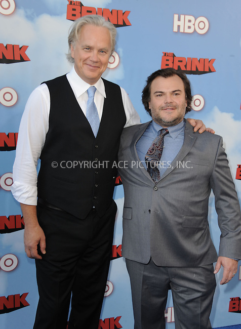 WWW.ACEPIXS.COM<br /> <br /> June 8 2015, Hollywood Ca<br /> <br /> Tim Robbins (L) and Jack Black arriving at HBO's Brink premiere on June 8, 2015 at the Paramount Theater in Hollywood Ca.<br /> <br /> Please byline: Peter West/ACE Pictures<br /> <br /> ACE Pictures, Inc.<br /> www.acepixs.com<br /> Email: info@acepixs.com<br /> Tel: 646 769 0430
