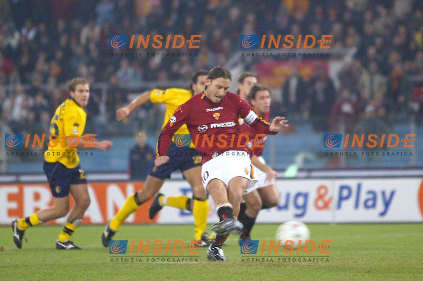 Roma 14/12/2003 Roma Modena 1-0<br /> Francesco Totti segna il rigore della vittoria della Roma<br /> Photo Andrea Staccioli