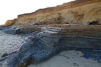Newly exposed areas following tidal surges of December 2013, winter, Happisburgh, Norfolk UK