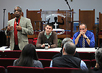 Rev. G. Modele Clarke, welcoming, Kingston Mayor, Steve Noble and Police Chief Egidio F. Tinti, to a Community Policing Forum, sponsored by the Kingston Branch of ENJAN and the Ministers Alliance of Ulster Co., held at New Progressive Baptist Church, on Hone Street in Kingston, NY, on Tuesday, December 13, 2016. Photo by Jim Peppler; Copyright Jim Peppler 2016.