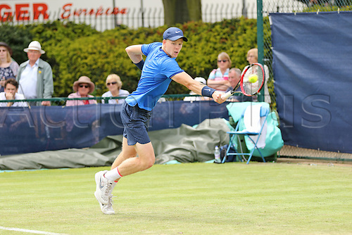 21.06.2016. Nottingham Tennis Centre, Nottingham, England. Aegon Open Mens ATP Tennis. Backhand from Kyle Edmund of Great Britain