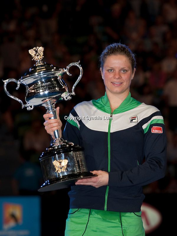 January 29, 2011.Kim Clijsters of Belgium, poses with trophy after defeating Na Li of China in the final at the Australian Open,Rod Laver Stadium, Melbourne Park, Melbourne, Australia