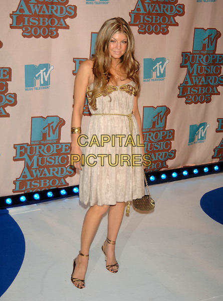 FERGIE - BLACK EYED PEAS.MTV Europe Music Awards 2005, Atlantic Pavillion, Lisbon, Portugal..November 3rd, 2005.Ref: PL.full length beige gold rope shoes bracelet bangle dress.www.capitalpictures.com.sales@capitalpictures.com.©Capital Pictures