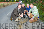 Cllr John Sheahan who is campaigning to have the Lough Guitane Road, Muckross resurfaced pictured with Tom Moriarty, Patrick Carey and Michael B O'Donoghue. ........................................................................................