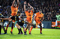 Te Toiroa Tahuriorangi clears during the Super Rugby match between the Chiefs and Jaguares at Rotorua International Stadum in Rotorua, New Zealand on Friday, 4 May 2018. Photo: Dave Lintott / lintottphoto.co.nz