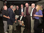 Joe Dombroski, Bob Luckey, Stan Wolfson, Don Norkett, Dick Kraus, Karen Wiles and Tom Maguire seen gathered around John Cornell at his retirement party on October 10, 2000. Photo by Jim Peppler. Copyright/Jim Peppler-2000