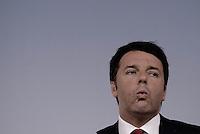 Roma, 18 Maggio 2015.<br /> Matteo Renzi.<br /> Conferenza stampa a Palazzo Chigi al termine del Consiglio dei Ministri sul decreto per i rimborsi delle pensioni.