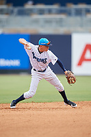 Tampa Tarpons shortstop Diego Castillo (19) throws to first base during a game against the Lakeland Flying Tigers on April 8, 2018 at George M. Steinbrenner Field in Tampa, Florida.  Lakeland defeated Tampa 3-1.  (Mike Janes/Four Seam Images)