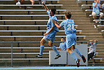 06 September 2009: UNC's Cameron Brown (left) celebrates his second goal with Alex Waters (right). The University of North Carolina Tar Heels defeated the Evansville University Purple Aces 4-0 at Fetzer Field in Chapel Hill, North Carolina in an NCAA Division I Men's college soccer game.