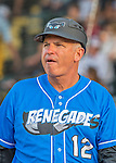 21 July 2016: Hudson Valley Renegades Manager Tim Parenton stands outside the dugout prior to a game against the Vermont Lake Monsters at Centennial Field in Burlington, Vermont. The Lake Monsters edged out the Renegades 4-3 in NY Penn League play. Mandatory Credit: Ed Wolfstein Photo *** RAW (NEF) Image File Available ***