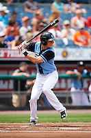 Syracuse Chiefs shortstop Trea Turner (4) at bat during a game against the Pawtucket Red Sox on July 6, 2015 at NBT Bank Stadium in Syracuse, New York.  Syracuse defeated Pawtucket 3-2.  (Mike Janes/Four Seam Images)