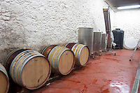 Domaine Mas Lumen in Gabian. Pezenas region. Languedoc. Barrel cellar. France. Europe.