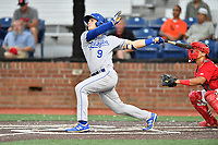 Burlington Royals Jake Means (9) hits a home run during game one of the Appalachian League Championship Series against the Johnson City Cardinals at TVA Credit Union Ballpark on September 2, 2019 in Johnson City, Tennessee. The Royals defeated the Cardinals 9-2 to take the series lead 1-0. (Tony Farlow/Four Seam Images)