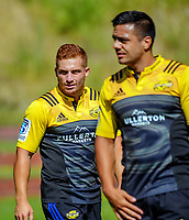 Ihaia West and Chase Tiatia. Hurricanes rugby union training at Rugby League Park in Wellington, New Zealand on Wednesday, 24 January 2018. Photo: Dave Lintott / lintottphoto.co.nz