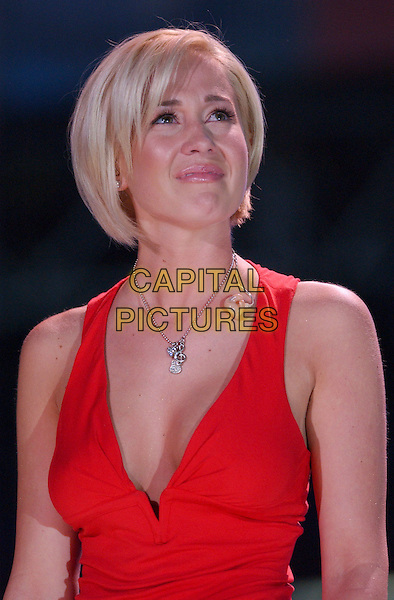 KELLIE PICKLER.2007 CMA Music Festival held at LP Field, Nashville, Tennessee, USA..June 10th, 2007.half length stage concert live gig performance music red low cut top .CAP/ADM/GS.©George Shepherd/AdMedia/Capital Pictures