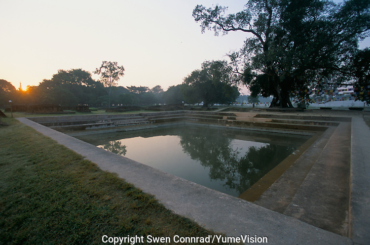 The pool of the Maya Devi Temple in Lumbini  Nepal, marks the birth place of Siddhartha Gautam Buddha.  In 1976, the Nepalese Government and UNESCO designated Lumbini as a world heritage site..-The full text reportage is available on request in Word format