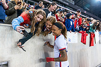 HARRISON, NJ - MARCH 08: Jess McDonald #22 of the United States signs autographs during a game between Spain and USWNT at Red Bull Arena on March 08, 2020 in Harrison, New Jersey.
