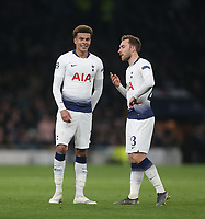 Tottenham Hotspur's Dele Alli and Christian Eriksen<br /> <br /> Photographer Rob Newell/CameraSport<br /> <br /> UEFA Champions League Quarter-finals 1st Leg - Tottenham Hotspur v Manchester City - Tuesday 9th April 2019 - White Hart Lane - London<br />  <br /> World Copyright © 2018 CameraSport. All rights reserved. 43 Linden Ave. Countesthorpe. Leicester. England. LE8 5PG - Tel: +44 (0) 116 277 4147 - admin@camerasport.com - www.camerasport.com