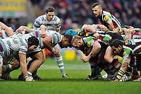 Halani Aulika faces off against Joe Marler as the two packs prepare to engage in a scrum. Big Game 5 Aviva Premiership match, between Harlequins and London Irish on December 29, 2012 at Twickenham Stadium in London, England. Photo by: Patrick Khachfe / Onside Images