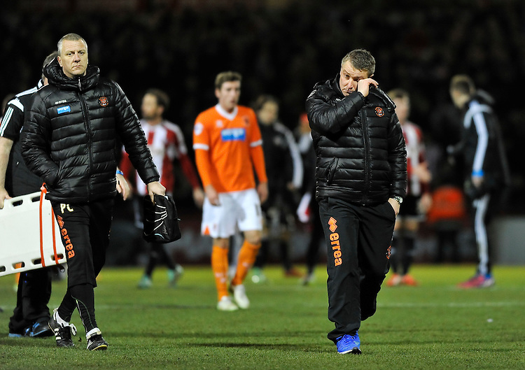 Blackpool manager Lee Clark dejected after the 4-0 defeat<br /> <br /> Photographer Ashley Western/CameraSport<br /> <br /> Football - The Football League Sky Bet League One - Brentford v Blackpool - Tuesday 24th February 2015 - Griffin Park - London<br /> <br /> &copy; CameraSport - 43 Linden Ave. Countesthorpe. Leicester. England. LE8 5PG - Tel: +44 (0) 116 277 4147 - admin@camerasport.com - www.camerasport.com