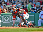 9 June 2012: Washington Nationals catcher Jesus Flores in action against the Boston Red Sox at Fenway Park in Boston, MA. The Nationals defeated the Red Sox 4-2 in the second game of their 3-game series. Mandatory Credit: Ed Wolfstein Photo
