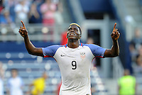 Kansas City, KS. - May 28, 2016: Gyasi Zardes celebrates his opening goal. The U.S. Men's national team defeated Bolivia 4-0 in an international friendly tuneup match prior to the opening of the 2016 Copa America Centenario at Children's Mercy Park.
