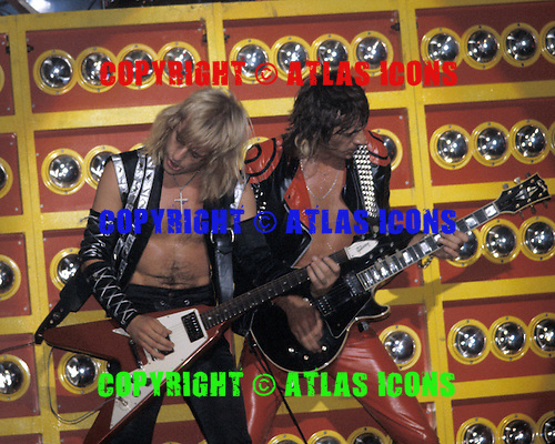 NEW YORK CITY, NY - JULY 01 : KK Downing, Glenn Tipton of Judas Priest perform at the Palladium on July 1, 1981 in New York City, New York. Photo By Larry Marano © 1981