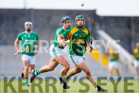 Padraig O'Grady Ballyduff in action against Adrian Royle Kilmoyley in the Senior County Championship Semi Finals at Austin Stack Park on Sunday.