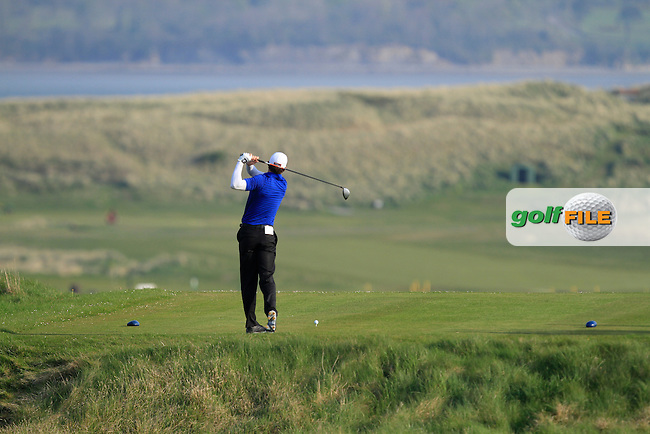Robert Cannon (Balbriggan) on the 5th tee during the Semi-Finals of The West of Ireland Amateur Open in Co. Sligo Golf Club on Tuesday 22nd April 2014.<br /> Picture:  Thos Caffrey / www.golffile.ie