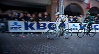 101st Scheldeprijs ..Kris Boeckmans (BEL) leading the peloton chasing the brealaway trio