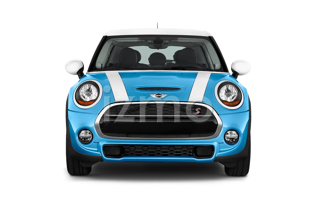 Car photography straight front view of a 2015 MINI Cooper S 4 Door 4 Door Hatchback Front View