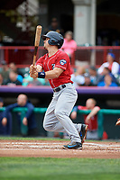 New Hampshire Fisher Cats catcher Patrick Cantwell (8) hits a double during a game against the Erie SeaWolves on June 20, 2018 at UPMC Park in Erie, Pennsylvania.  New Hampshire defeated Erie 10-9.  (Mike Janes/Four Seam Images)