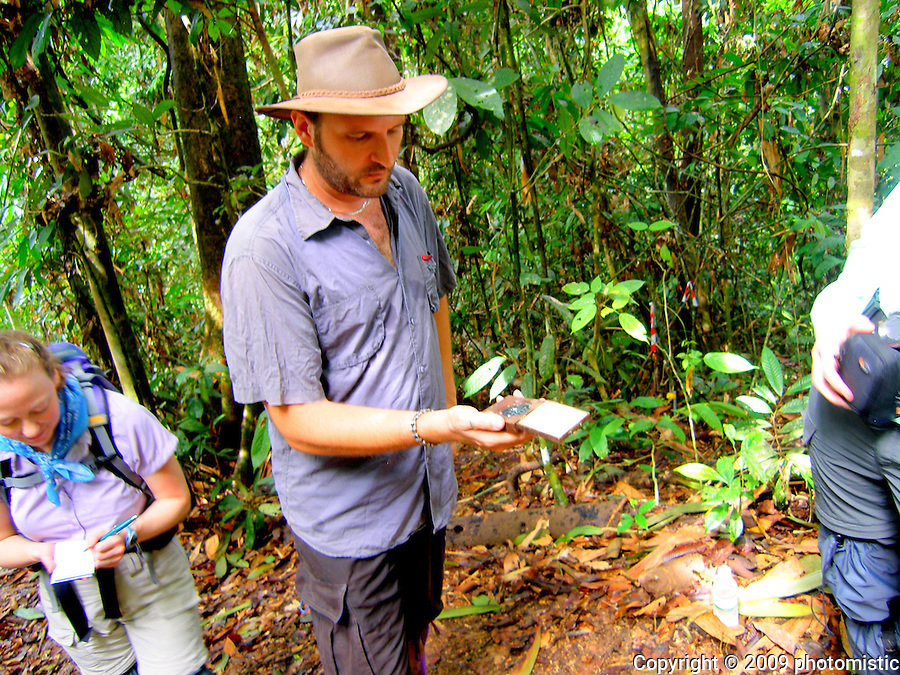 Glenn Reynolds<br /> explaining how to use<br /> the densiometer<br /> malua<br /> borneo, malaysia
