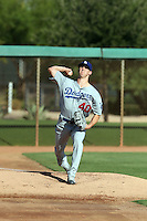 Walker Buehler, the Los Angeles Dodgers 2015 1st round pick, makes his professional debut after recovering from Tommy John surgery in a game for the AZL Dodgers against the White Sox at Camelback Ranch on August 23, 2016 in Glendale, Arizona. Buehler pitched two perfect innings, striking out three batters, in earning the victory (Bill Mitchell)