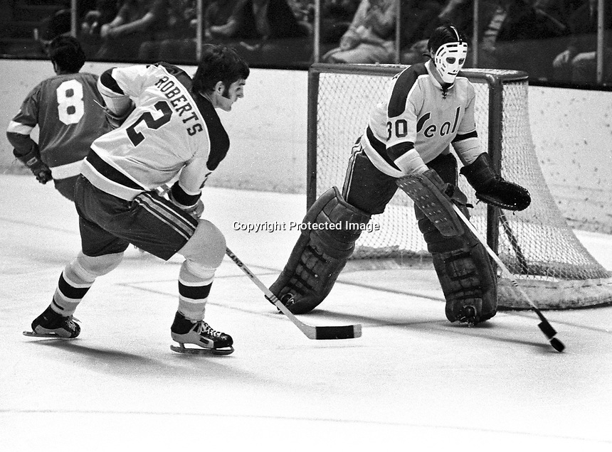 Seals vs RedWings 1971: Seals Dick Roberts and goalie Chris Worthy. (photo/Ron Riesterer)