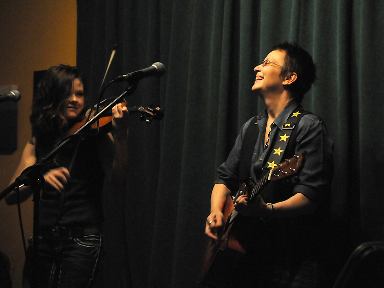 Mary Gauthier with Tania Elizabeth, performing at the Rosendale Cafe in Rosendale, NY on Thursday, November, 10, 2011. Photo by Jim Peppler. Copyright Jim Peppler/2011.