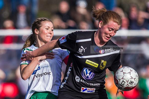 110410 Hammarbys Matilda Agn&eacute; och Ume&aring;s Anna Westerlund under fotbollsmatchen i Damallsvenskan mellan Hammarby och Ume&aring; den 10 April 2011 i Stockholm. <br /> Foto: Kenta J&ouml;nsson<br /> Nyckelord: fotboll, damallsvenskan, hammarby, ume&aring;