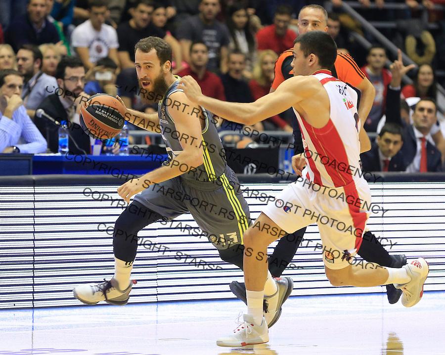 Kosarka Euroleague season 2015-2016<br /> Euroleague <br /> Crvena Zvezda v Real Madrid<br /> Sergio Rodriguez and Nikola Rebic (R)<br /> Beograd, 27.11.2015.<br /> foto: Srdjan Stevanovic/Starsportphoto &copy;