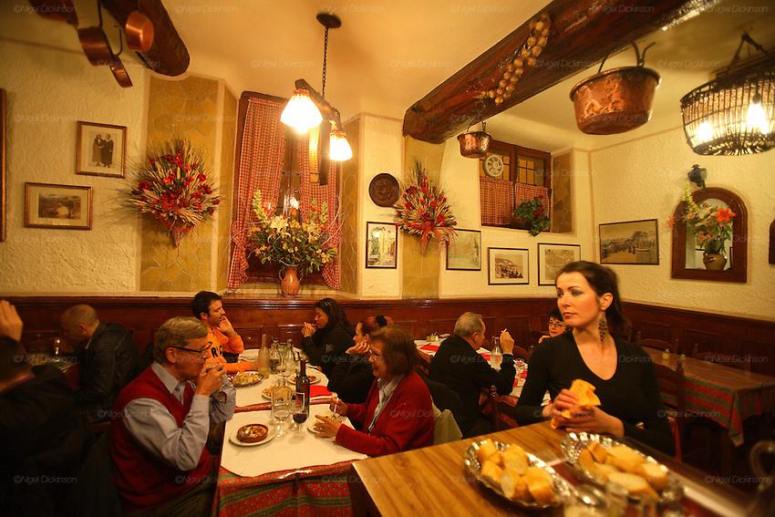 RESTAURANTS, Cote d'Azur. France. Acchiardo Restaurant, Vieux Nice. Interior with Stephanie la serveuse.